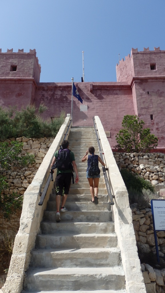 The Red Tower, Melliah, Malta - climbing the stairs