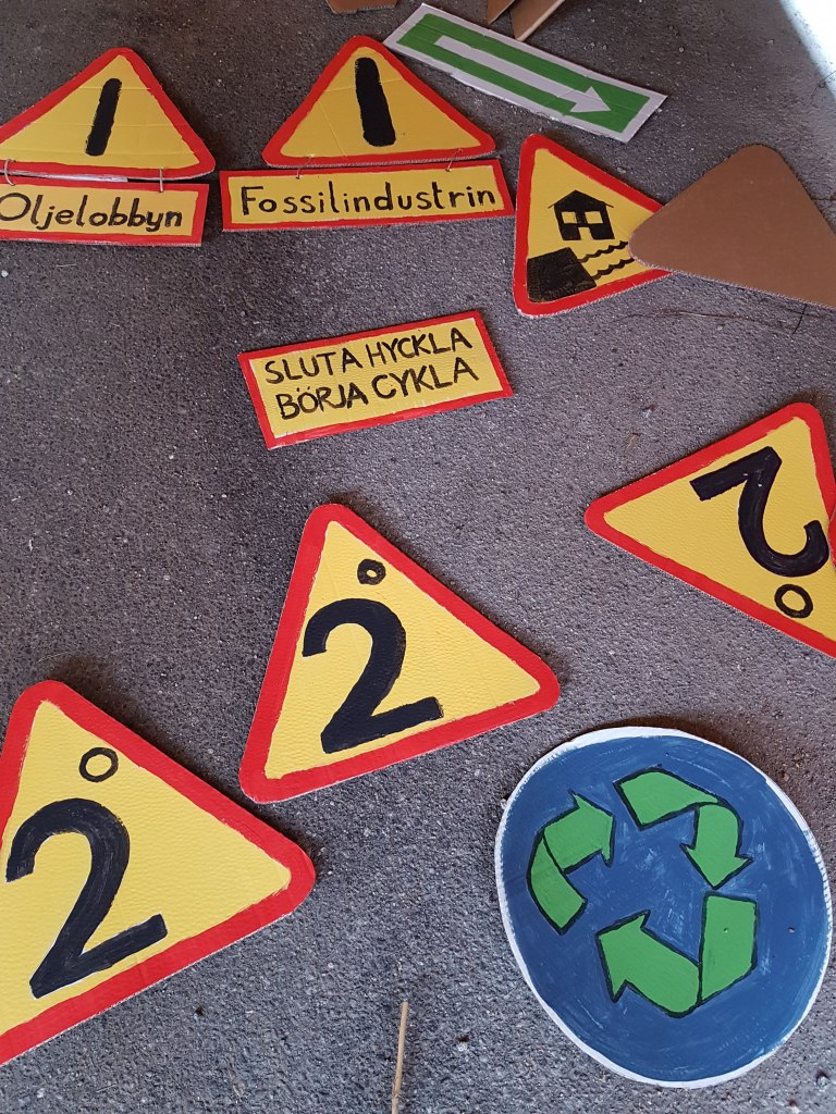 Pretended Traffic Signs for Climate Change - We are on the way to +2°C amd high flood, please recycle