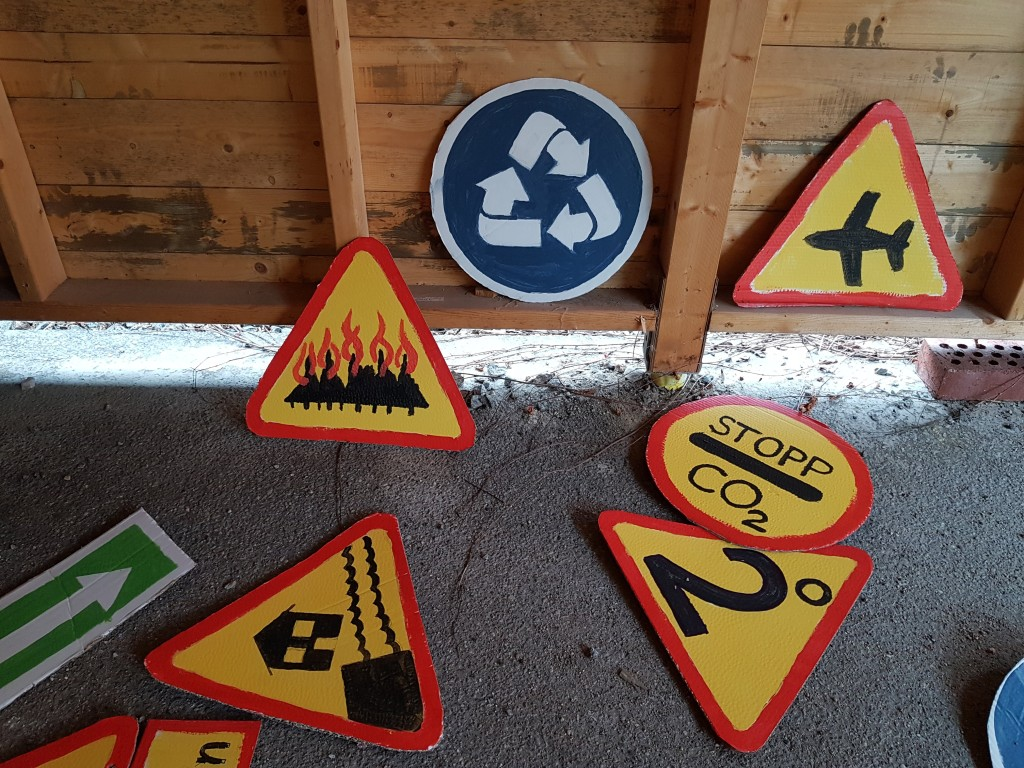 Pretended Traffic Signs for Climate Change = Caution: Aeroplans, wild fires, one way road, Stop CO2